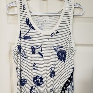 Maurices Navy Floral Striped Ruched Tank